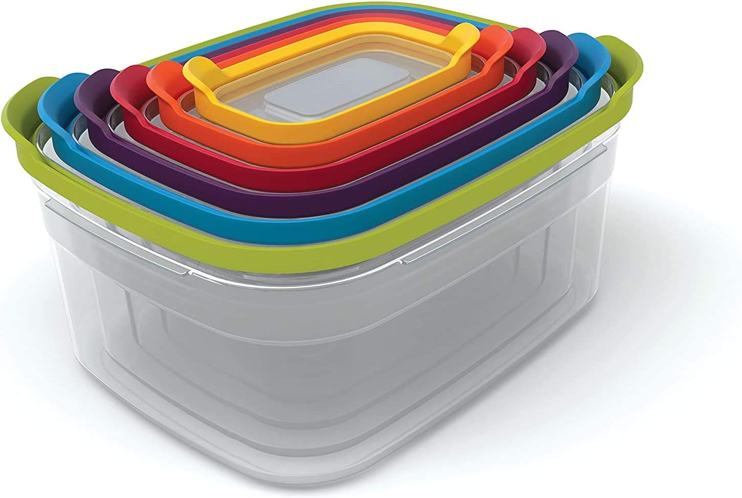 Plastic Food Storage Containers Set with Lids Airtight Microwave Safe, 12-Piece, Multi-color Nest Lock Plastic Food Storage Container Set with Lockable Airtight Leakproof Lids, Multi-Color