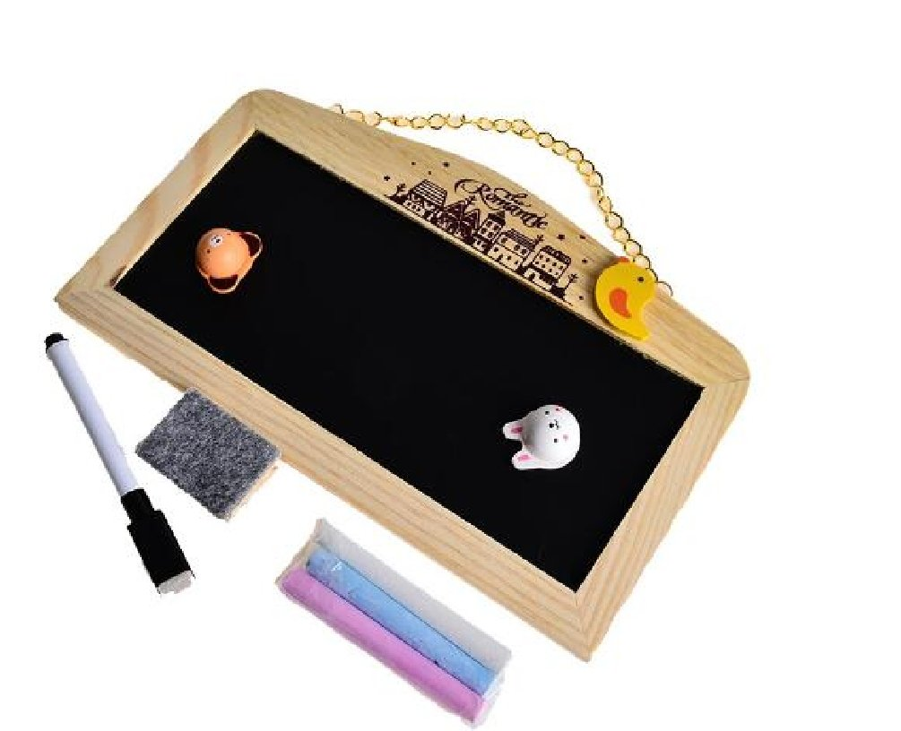 Small Magnetic Message Board Blackboard Whiteboard Double Sides with Chalk Hanger 1422cm