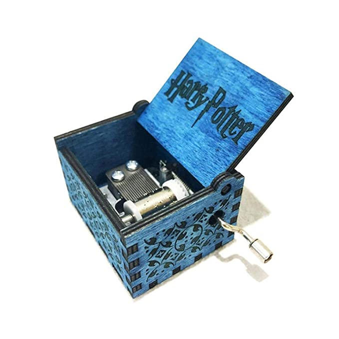 FOONEE Harry Potter Caja de música de Madera Caja manivela manivela clásica temática de Peluca Caja Musical Azul/marrón: Amazon.es: Hogar