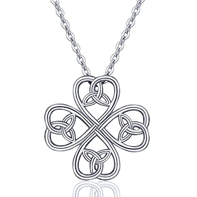 ace75ca30effa INFUSEU Premium 925 Sterling Silver Women Necklace, Celtic Knot Necklace  Love Pendant with Chain 18