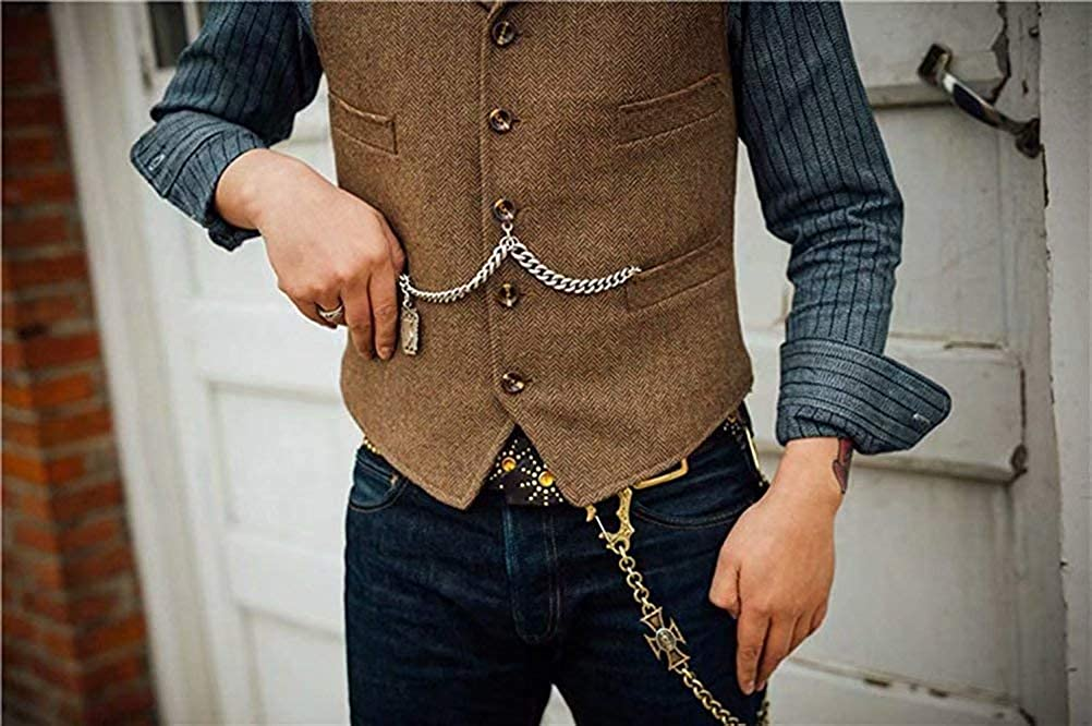 JYDX Mens Formal Business Suit Vest Slim Fit Notch Lapel Wool Tweed Waistcoat for Wedding Groomsmen