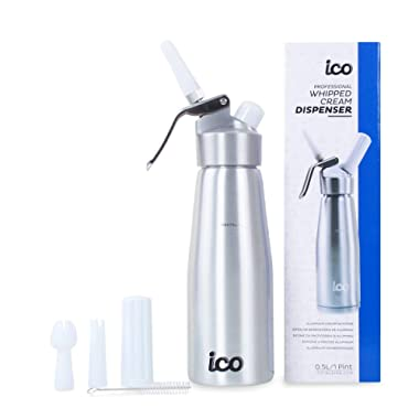 ICO Professional Whipped Cream Dispenser for Delicious Homemade Whipped Creams, Sauces, Desserts, and Infused Liquors - uses 8g N2O cartridges (1 Pint, Silver)