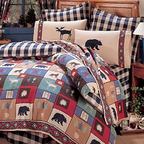 The Woods 4 Piece TWIN Size Comforter Set & Matching Shower Curtain - (1 Twin Comforter, 1 Pillow Sham, 1 Twin Bedskirt, 1 Bolster Pillow, 1 Shower Curtain) Bear Moose Cabin Rustic Country Bedding (Moose Kimlor)