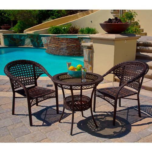 Amazon.com : Home Loft Concept Cristiano 3 Piece Chairs U0026 Table Patio  Furniture Bistro Set, Wicker, Seats 2 : Garden U0026 Outdoor