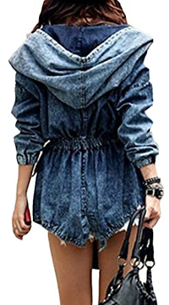 Streetwear Hooded Pocket Elastic Waist Blue Long Jean Trench Coat