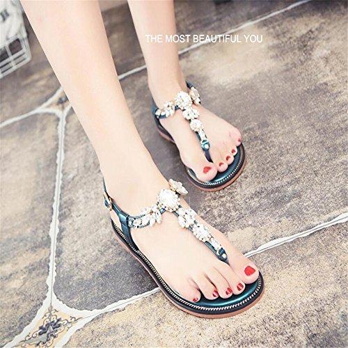 Calzado Mujer Green Zapatos Plana Sandalias De Cuchilla 0B1ttP
