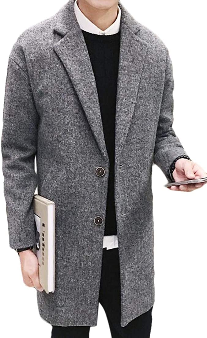 X-Future Mens Single Breasted Notched Collar Warm Woolen Long Trench Coat