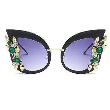 758a41629113b4 Inlefen Femme Lunettes de soleil oeil de chat Élégant cadre surdimensionné  Lunettes avec strass