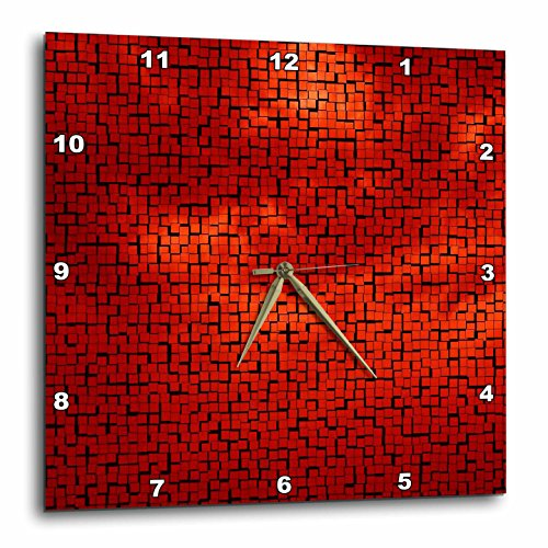 Red Clouds Tile Pattern Wall Clock - cute red wall clocks