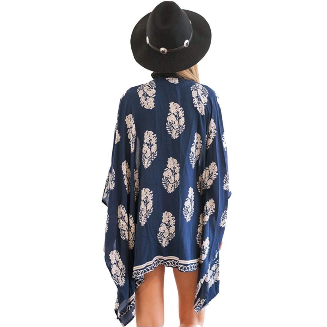 Women Girl Chiffon Kimono Cardigan Coat, Zulmaliu Summer Long Loose Jacket Blouse for Beach, Irregular Long Sleeve Wrap Casual Coverup Tops Outwear (L, 5#) by Zulmaliu-Women Coat (Image #3)