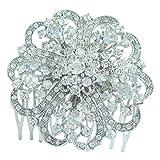 Sindary 2.36'' Silver Tone Flower Bridal Hair Comb Clear Rhinestone Crystal Wedding Headpiece HZ3609