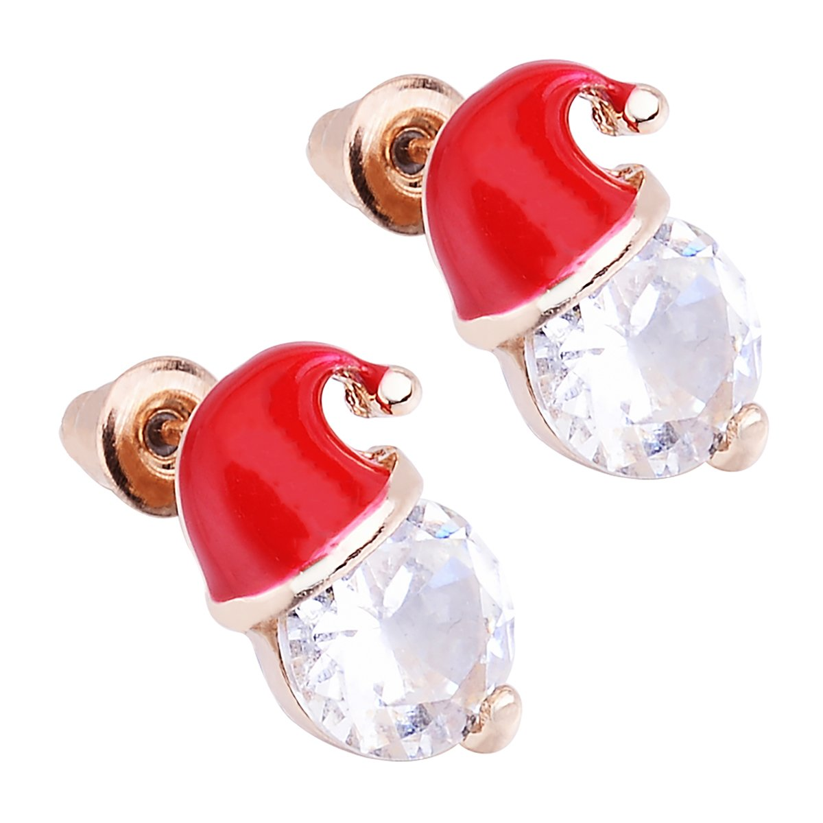 HooAMI Alloy Santa Claus Hat Earring Studs Christmas Gift for Women Girl Terrific Young BETY132428