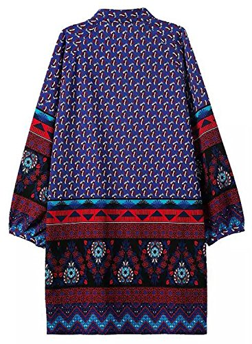 Futurino Damen Frühling/Sommer Casual V-Ausschnitt Gummizugal Floralem Ethnic Style Shift Mini Kleider Kurz Strand Urlaub