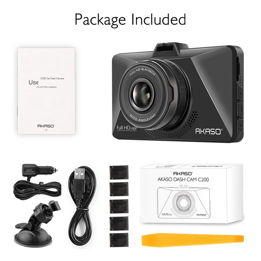 WDR Parking Monitor AKASO Dash Cam MINI 1080P Full HD Dash Cam 170 Wide Angle 3 Inch LCD Screen Car Camera with G-Sensor