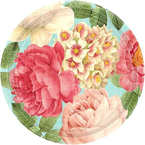 Floral Party Plates - Blissful Blooms Dinner Plates Floral Garden Party Disposable Tableware, 18 Pieces, Made from Paper, 10 1/2