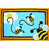 Jellybean Busy Bees Indoor Outdoor Accent Rug - 21 x 33