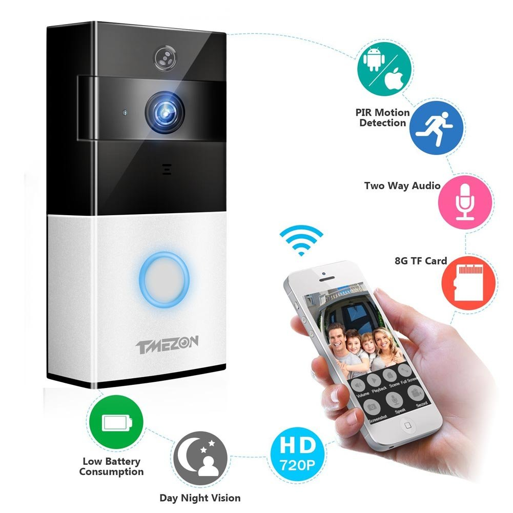 TMEZON Video Doorbell, Smart Doorbell 720P HD Wifi Security Camera with 8G Memory Storage, Real-Time Two-Way Talk and Video, Night Vision, PIR Motion Detection and App Control for IOS and Android