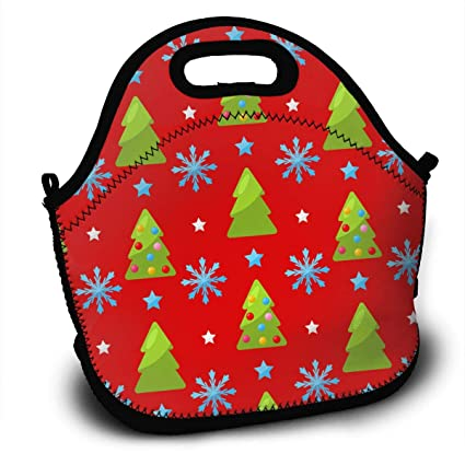 40f45fa782d6 Amazon.com - SARA NELL Neoprene Lunch Bag Christmas Snowflakes and ...