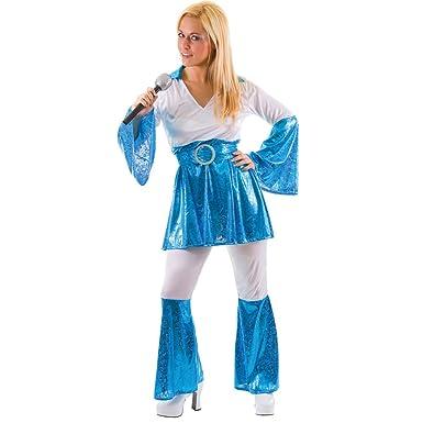 mamma mia 70s disco blue ladies fancy dress halloween costume medium uk 14 16