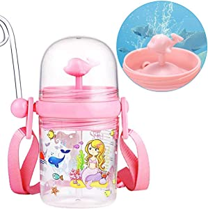 Cute Children's Whale Spray Drinking Cup, Children's Sippy Cup, Kid's Drop-Proof Cup With Straw, 250m Portable Baby Cups with Straw, Let Child Drink More Water, Funny Crossbody Strap Design (Pink)