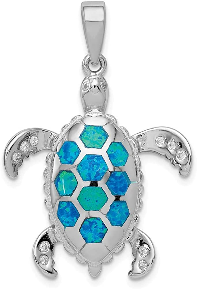 Solid 925 Sterling Silver Created Blue Opal Inlay and CZ Cubic Zirconia Tortoise Pendant Charm 34mm x 23mm