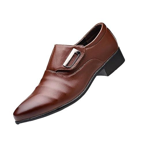 Zapatos De Cuero para Hombres Marrón Corbata Formal Suave Zapatos ...