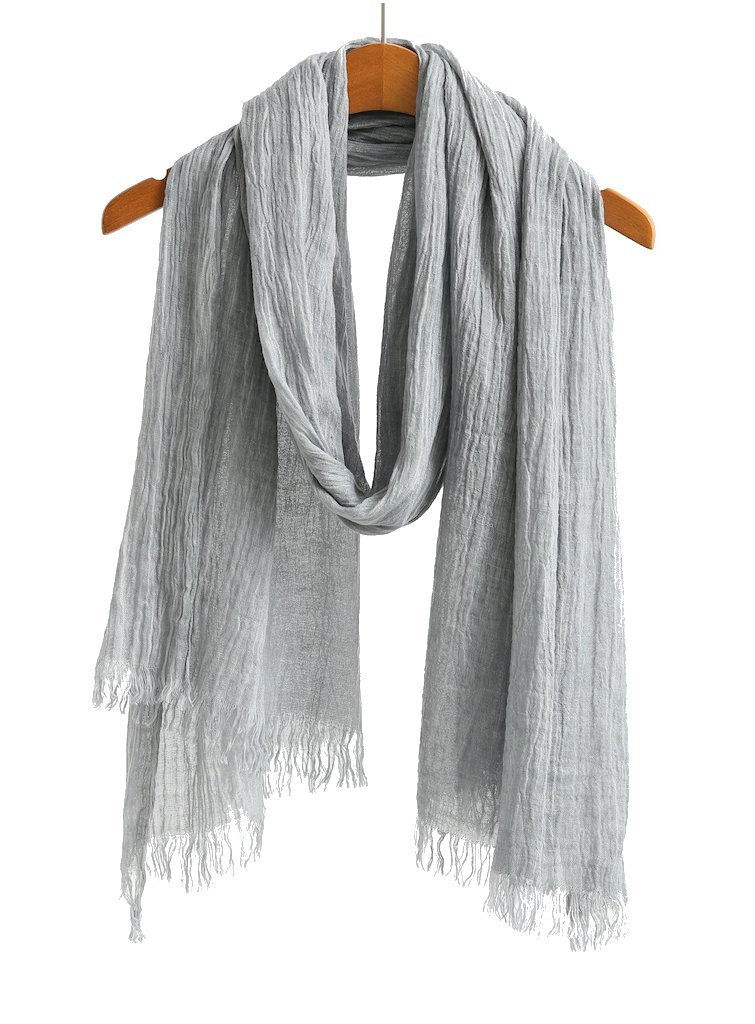 Cotton Linen Scarf Shawl Wrap Soft Lightweight Scarves And Wraps For Men And Women. (Sky grey)