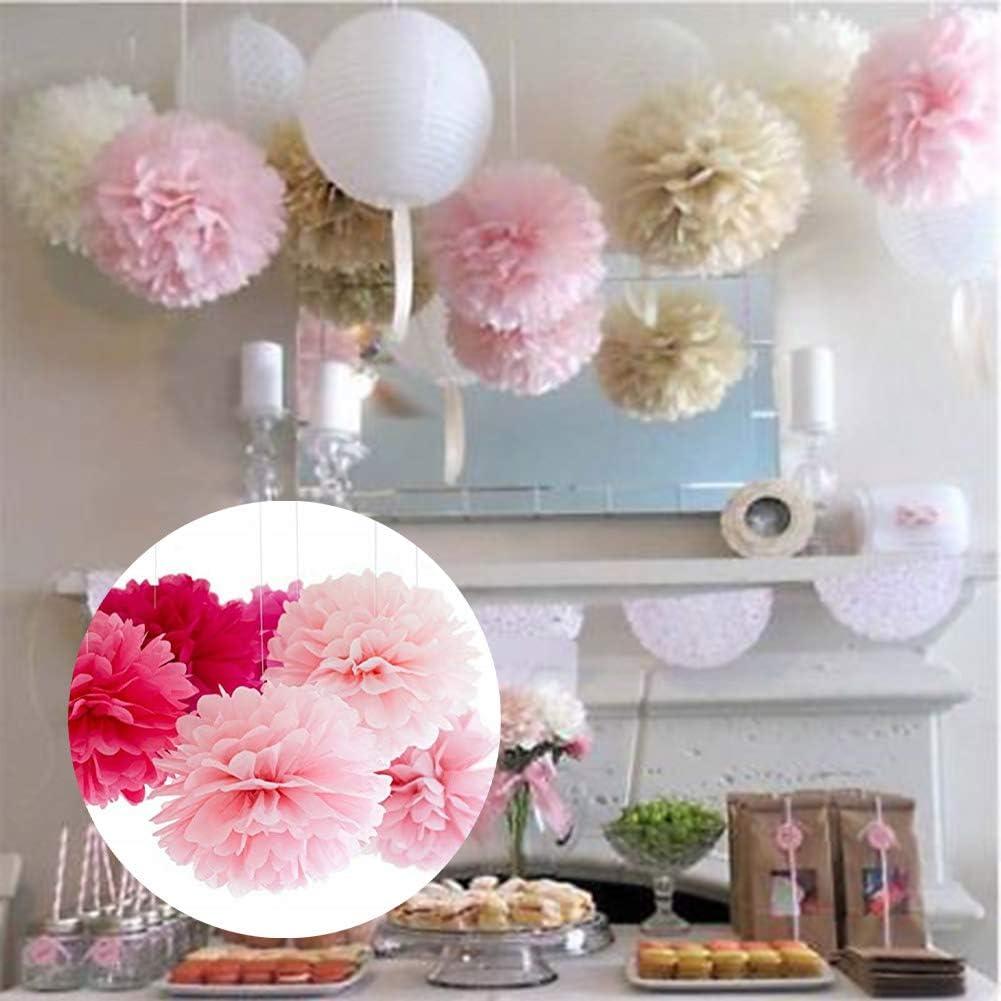 yaomo4981 12 pcs Nouveau th/ème de Papier de Soie m/élang/é Rose Pompoms Fluffy Flower Pom Poms
