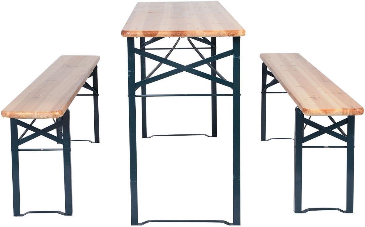 - Amazon.com: 3 PCS Beer Table Bench Set Folding Wooden Top Picnic