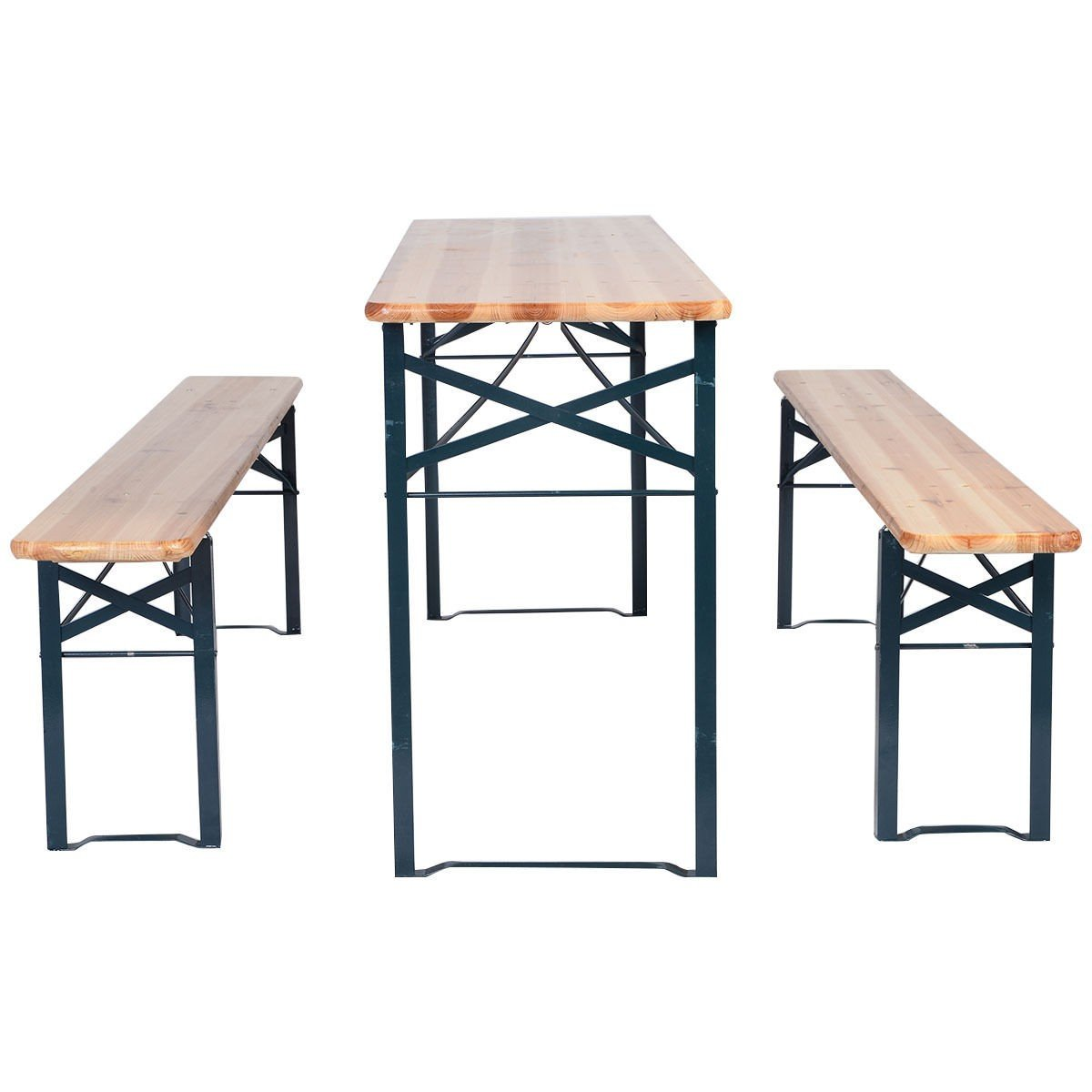 amazoncom 3 pcs beer table bench set folding wooden top picnic table patio garden kitchen u0026 dining