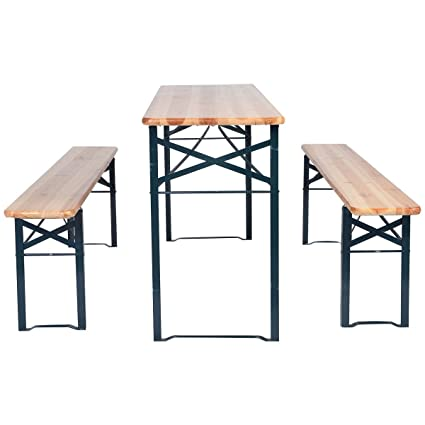 Amazoncom PCS Beer Table Bench Set Folding Wooden Top Picnic - Metal wood picnic table