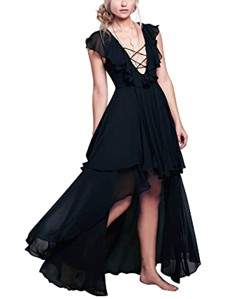 13fe79feda44 BIUBIU Women's Sexy Chiffon V Neck High Low Lace Up Ruffle Maxi Dress Black  S