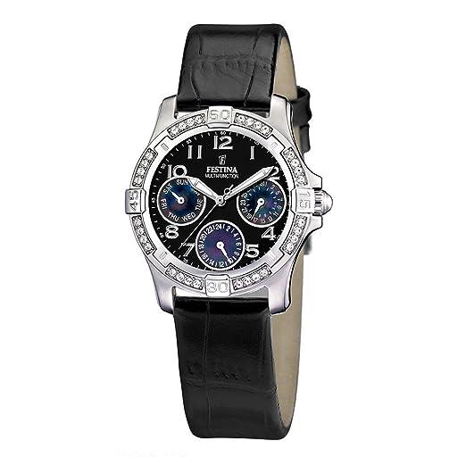 FESTINA 16021/9 - Reloj unisex de cuarzo, correa de piel color negro: Festina: Amazon.es: Relojes
