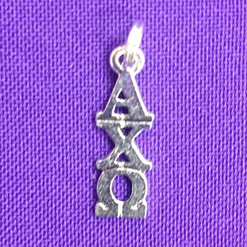Omega Lavaliere - Alpha Chi Omega Sorority Lavaliere in Sterling Plate