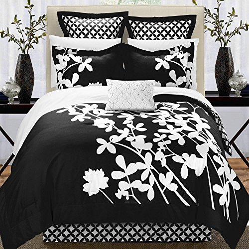 Iris Black & White Queen 11 Piece Comforter Bed In A Bag Set ()