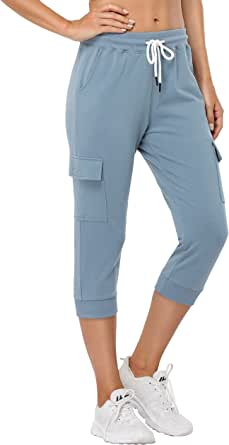 SPECIALMAGIC Women's Capri Jogger Cargo Pants Sweatpants for Women with Pockets Workout Athletic Sports Gym Casual Wear