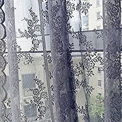 Ackful Sheer Curtain Tulle Window Treatment Voile Drape Valance 1 Panel Fabric (Gray)