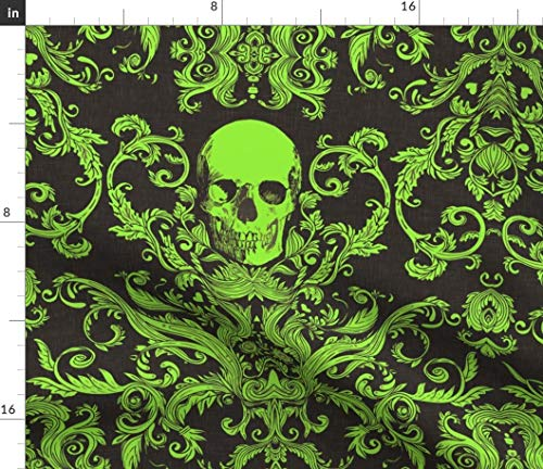 Spoonflower Damask Fabric - Green Macabre Halloween Skull Skulls by Willowlanetextiles Printed on Fleece Fabric by The -