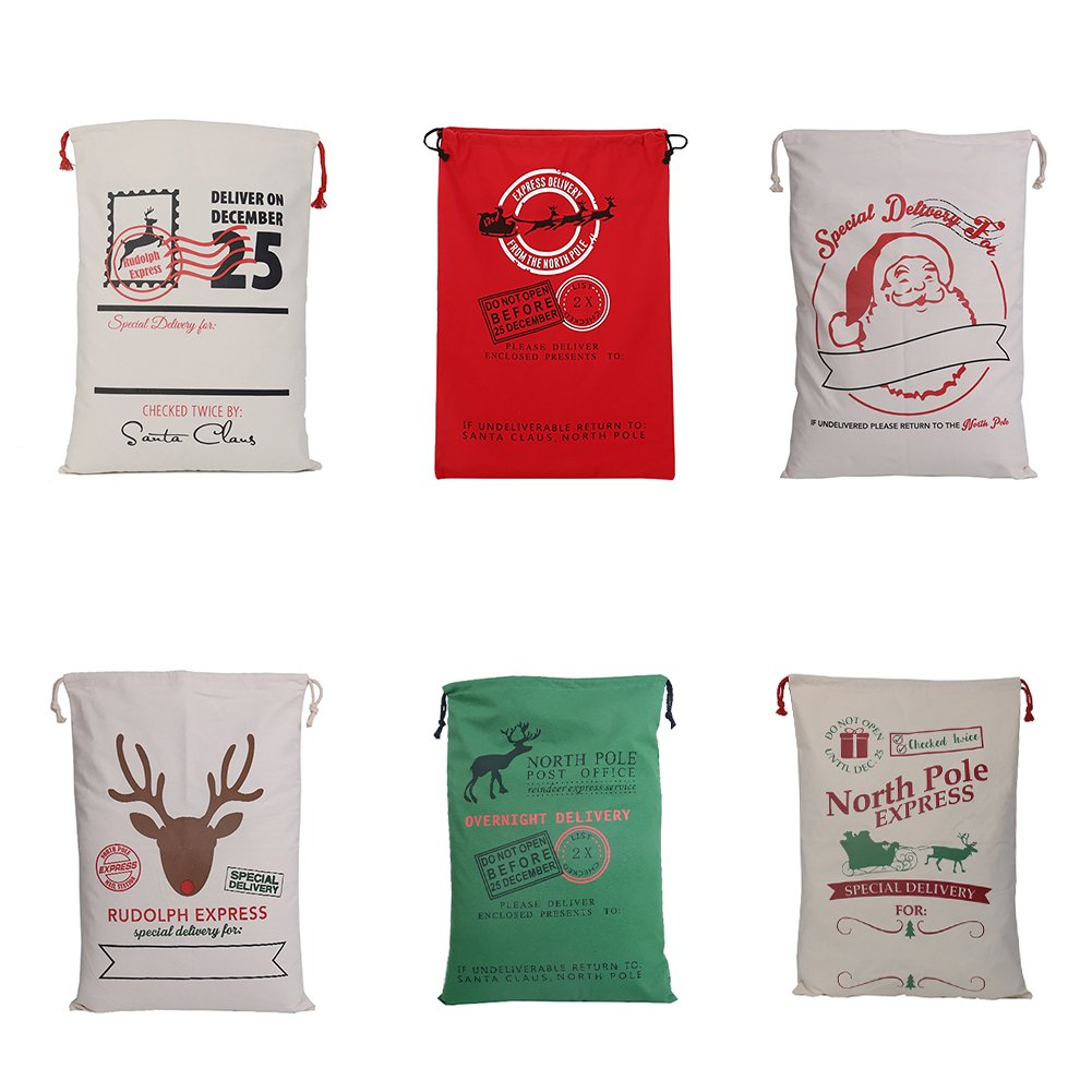 Aspire Wholesale Christmas Giant Canvas Drawstring Bags Reusable Grocery Shopping Bag Gift Storage-Assorted-48 PCS by Aspire