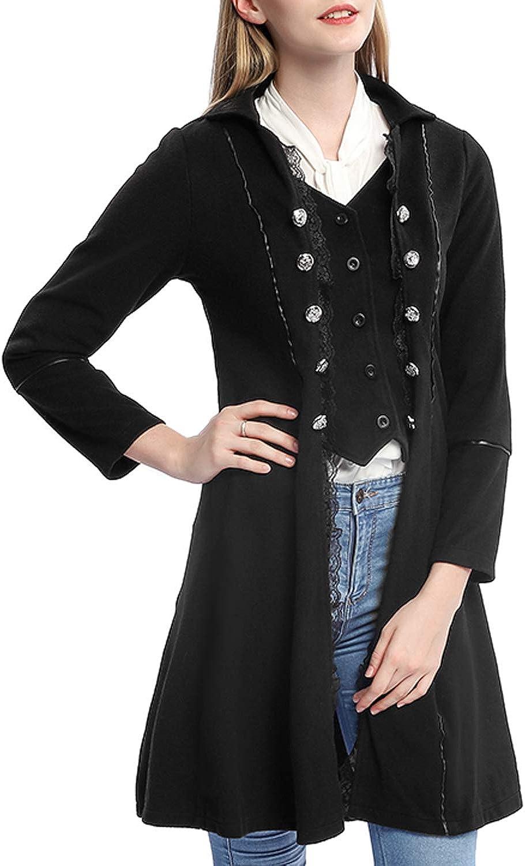 Womens Gothic Steampunk Corset Halloween Costume Coat Victorian Tailcoat Jacket