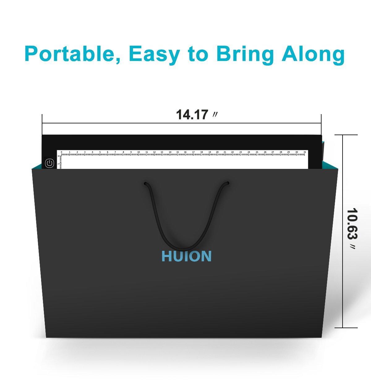 Huion A4 LED Light Pad Tracing Light Box Adjustable Brightness AC Powered 12.2x8.27 Inch