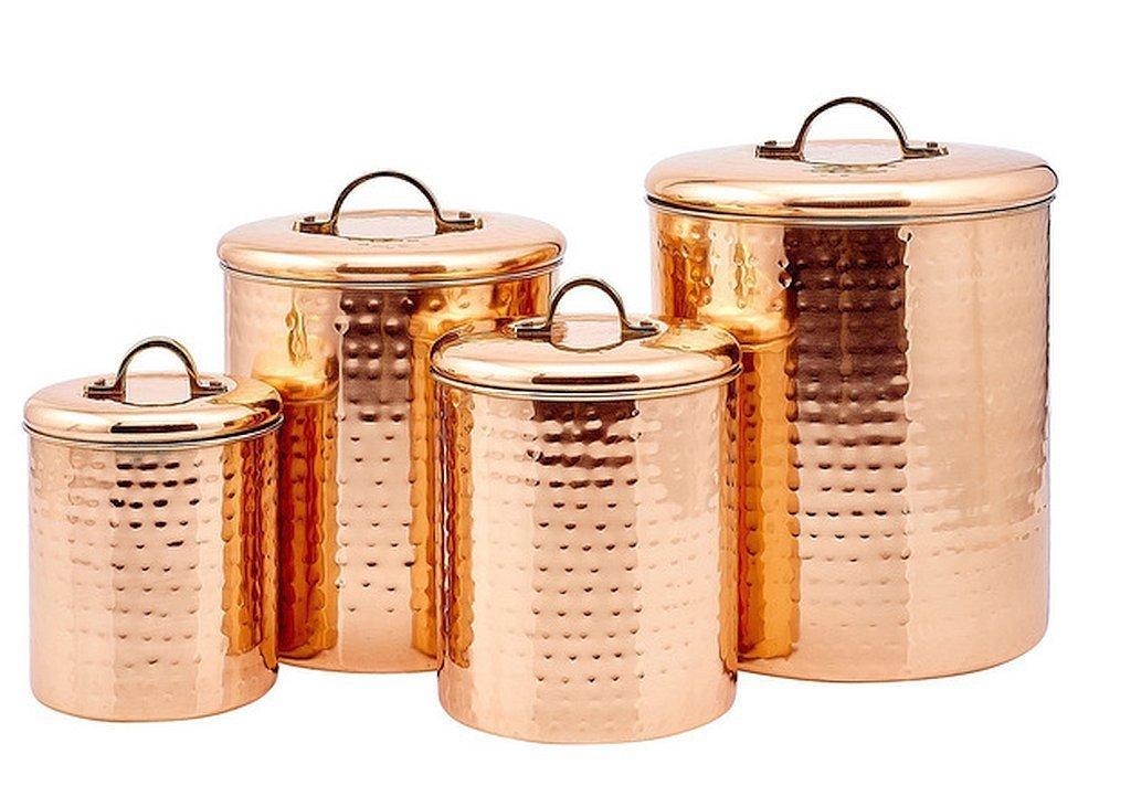 4ピース銅ソリッド真鍮ハンドルCanisterセット、のスチール製銅メッキ、打ち出し仕上げ B01N7GDLOV