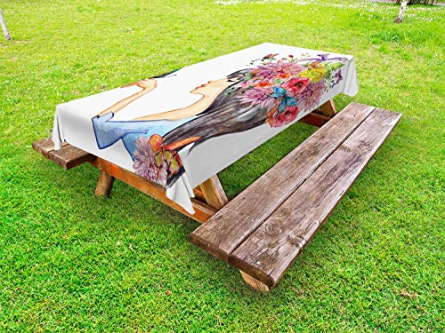 Ambesonne Floral Outdoor Tablecloth, Colorful Spring Flowers Leaves with a Long Haired Woman Butterfly Artwork Image, Decorative Washable Picnic Table Cloth, 58 X 120 Inches, Multicolor