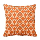 Bright Orange and White Decorative Cushion Covers Throw Pillow Case Moroccan Quatrefoil Pattern Print Square Two Sides 16X16 Inch
