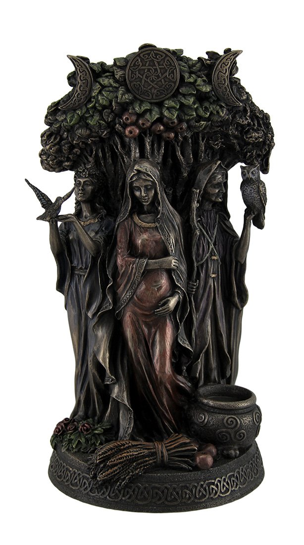 Resin Statues Danu Irish Triple Goddess of The Tuatha De Danann Bronze Finish Statue 6 X 10.5 X 5 Inches Bronze Veronese