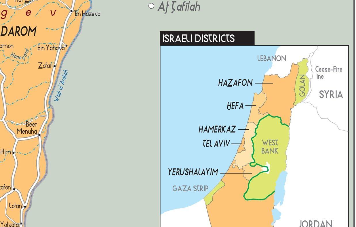 A2 42 x 59,4 cm laminiert Politische Karte Israel Papier