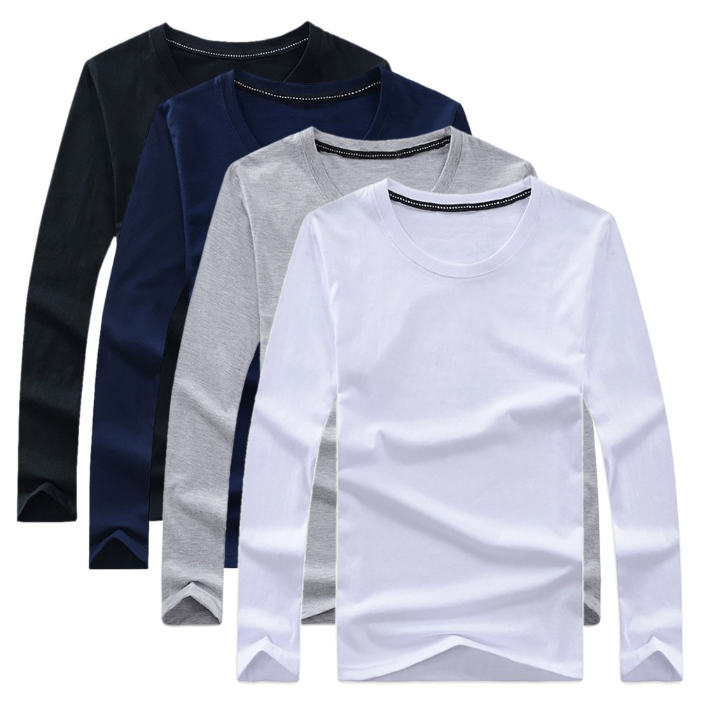Men BigBoy 4-Pack Premium Casual Sport Work Cotton Long Sleeve Crew Neck T-Shirt Sweatshirt by TAIPOVE (Image #1)