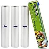 真空ロール3パック 28*500 cm, カットボックスが付いており,真空パック真空パック機専用ロール 真空ビニール 真空包装,商業レベルの食品袋で、保存食品と低温調理に使います