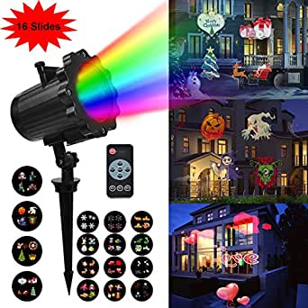 InPoTo Christmas Projector Light, Halloween and Christmas Decoration with 16 Slide, Waterproof Holiday Projector Light Landscape for Home Party Wedding Decoration