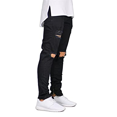 915a539e8de Thadensama Men Jeans Stretch Destroyed Ripped Design Fashion Ankle Zipper  Skinny Jeans For Men E5020 at Amazon Men s Clothing store